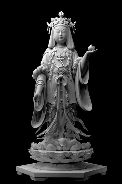 仏像彫刻原田謹刻 吉祥天像(きっしょうてんぞう) 【吉祥天】 福徳安楽を与え,仏法を護持する天女。元はインド神話の神で,美,幸運,繁栄,豊穣をもたらす神とされる。仏教では徳叉迦(とくさか)を父に,鬼子母神を母に生まれ,毘沙門天の妃とされる。通常,天衣宝冠を着け,左手に如意宝珠を捧げ持つ。〈きちじょうてん〉とも読む。